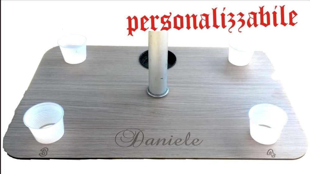 Vassoio porta flute in legno con piedistallo removibile personalizzato ...