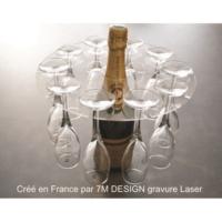 Supporto porta flute champagne prosecco spumante in Legno o Plexiglass