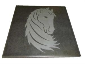 incisione laser cavallo su maiolica