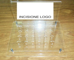 Espositore in plexiglass e legno sigaretta elettronica prova liquidi 24 posti