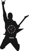 Orologio da Parete a Forma di Chitarrista Legno e Plexiglass