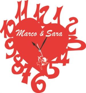 Orologio da Parete a Forma di Cuore San Valentino con incisione vostri nomi Legno o Plexiglass