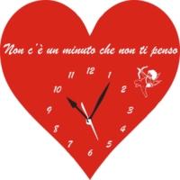 Orologio da Parete a Forma di Cuore con incisione Frase d'amore Legno e Plexiglass