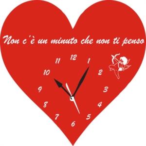 Orologio da Parete a Forma di Cuore con Frase d'amore incisa in Legno e Plexiglass
