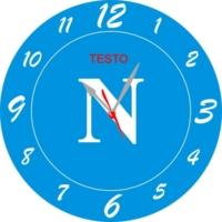 Orologio da Parete a Forma Rotonda Incsione Squadra Calcio Napoli Legno e Plexiglass