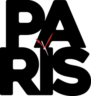 Orologio da Parete a Forma di Scritta Paris in Legno o Plexiglass